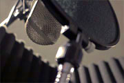 Vocal microphone used in the recording studio booth